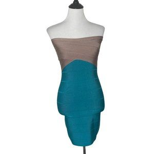 BEBE Bodycon Dress Bandage Halter Fitted Club Zip